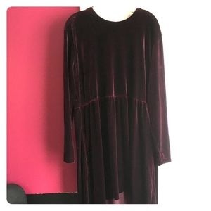 Burgundy velvet high low long sleeved dress